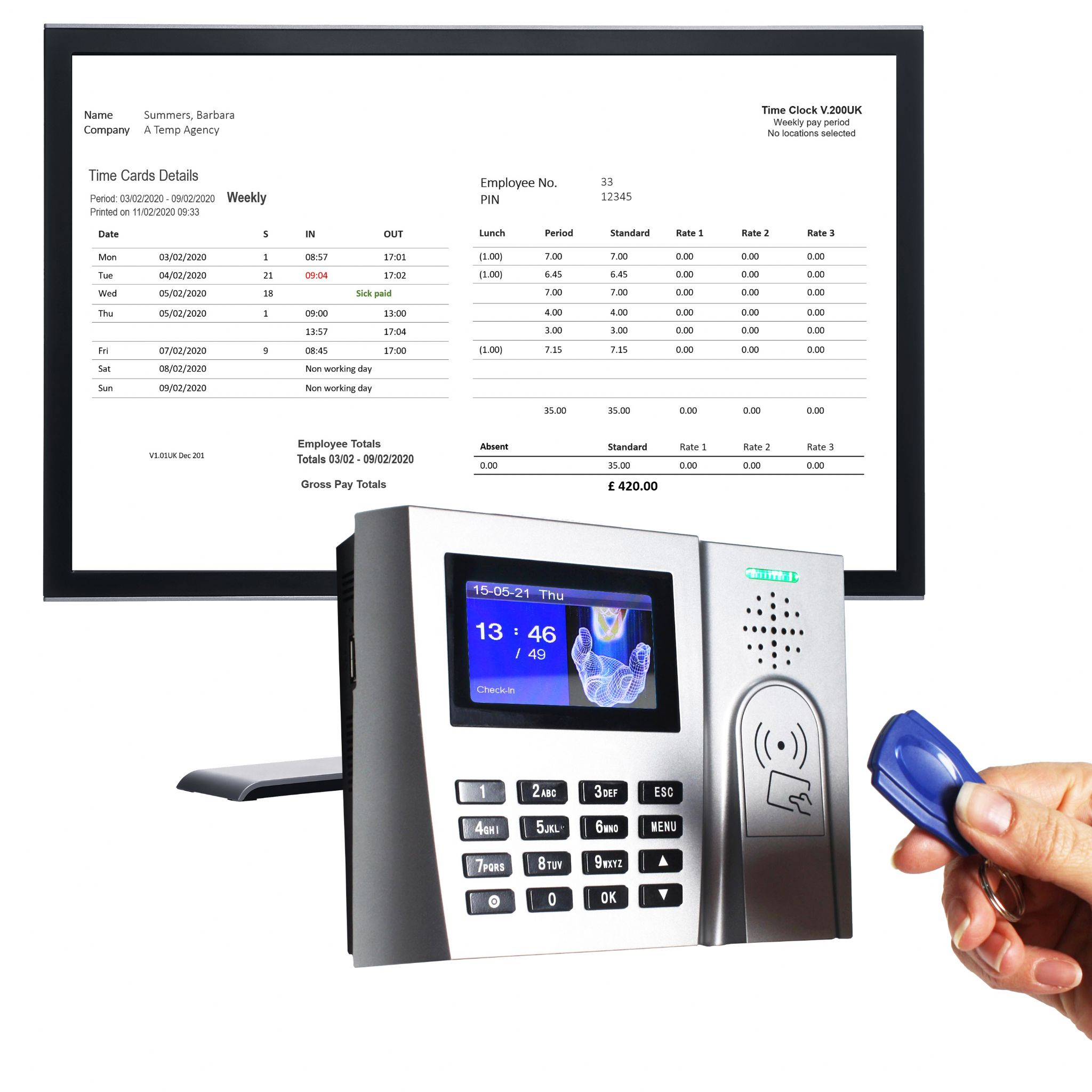 ProxTime 200 | RFID tag clocking in machine